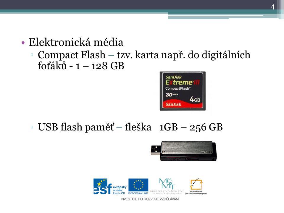Elektronická média Compact Flash – tzv. karta např.