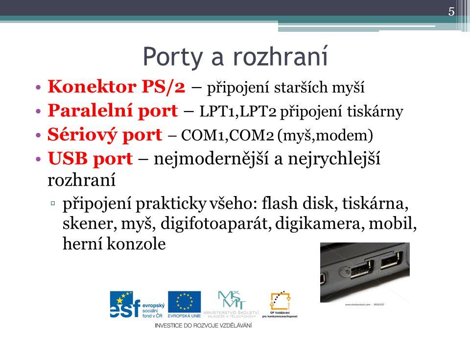 Porty a rozhraní Konektor PS/2 – připojení starších myší