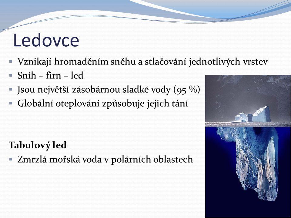 Ledovce Vznikají hromaděním sněhu a stlačování jednotlivých vrstev