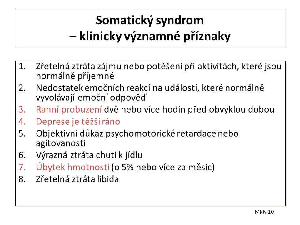 Somatický syndrom – klinicky významné příznaky