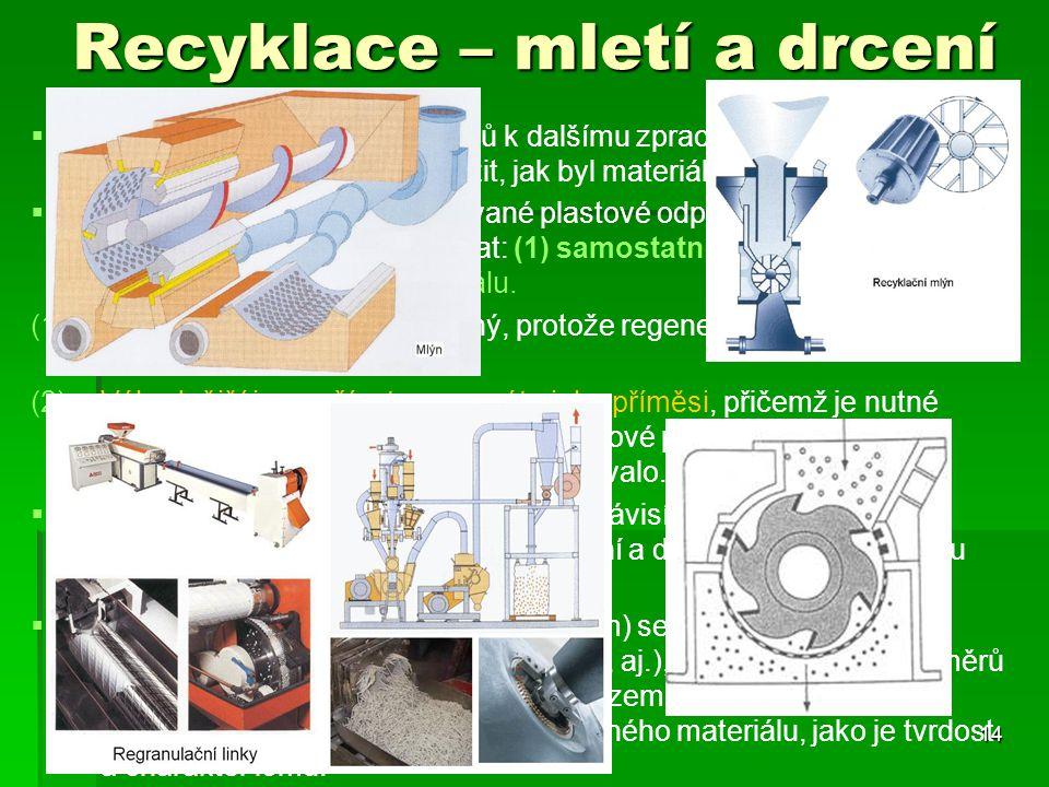 Recyklace – mletí a drcení