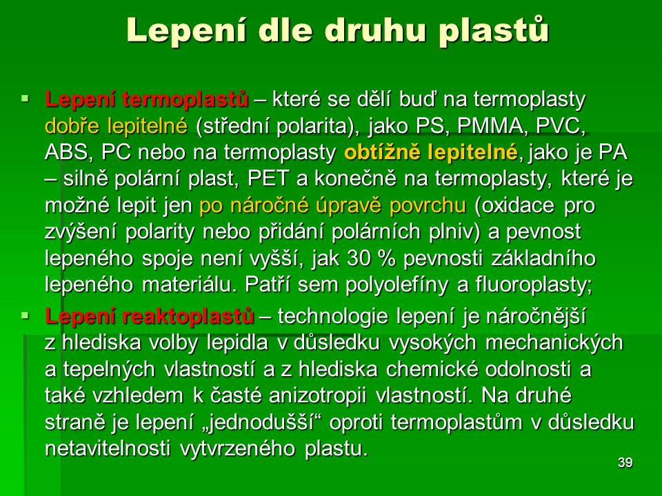 Lepení dle druhu plastů
