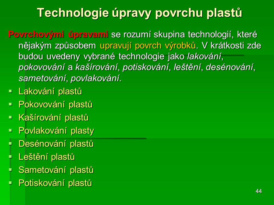 Technologie úpravy povrchu plastů