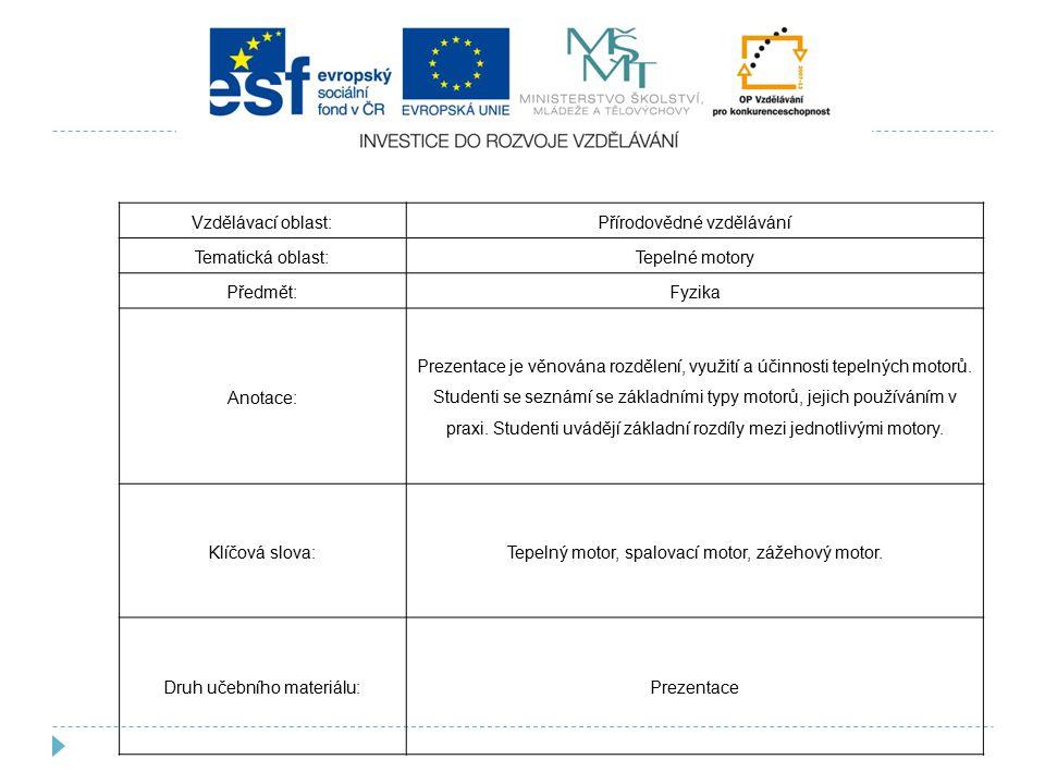 Přírodovědné vzdělávání Tematická oblast: Tepelné motory Předmět: