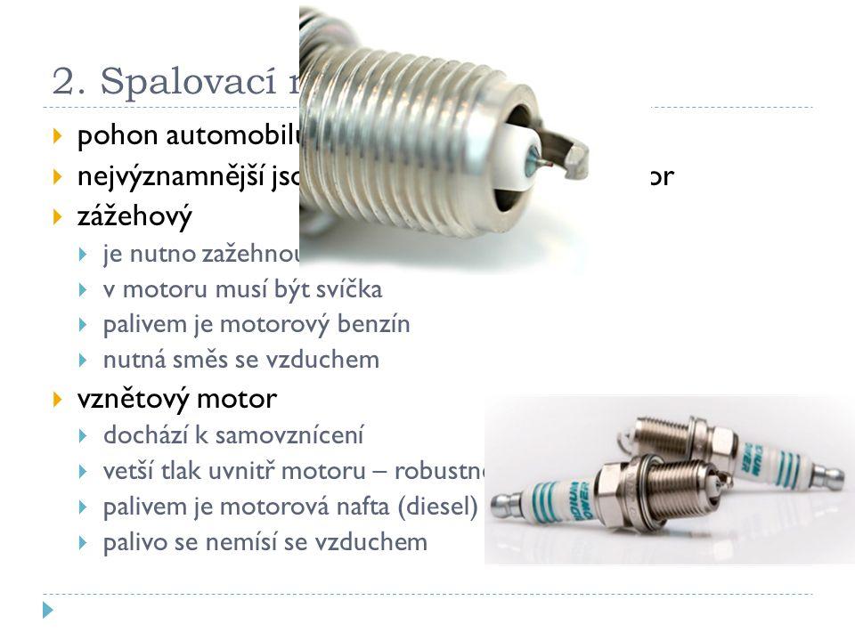 2. Spalovací motory pohon automobilů a stojů