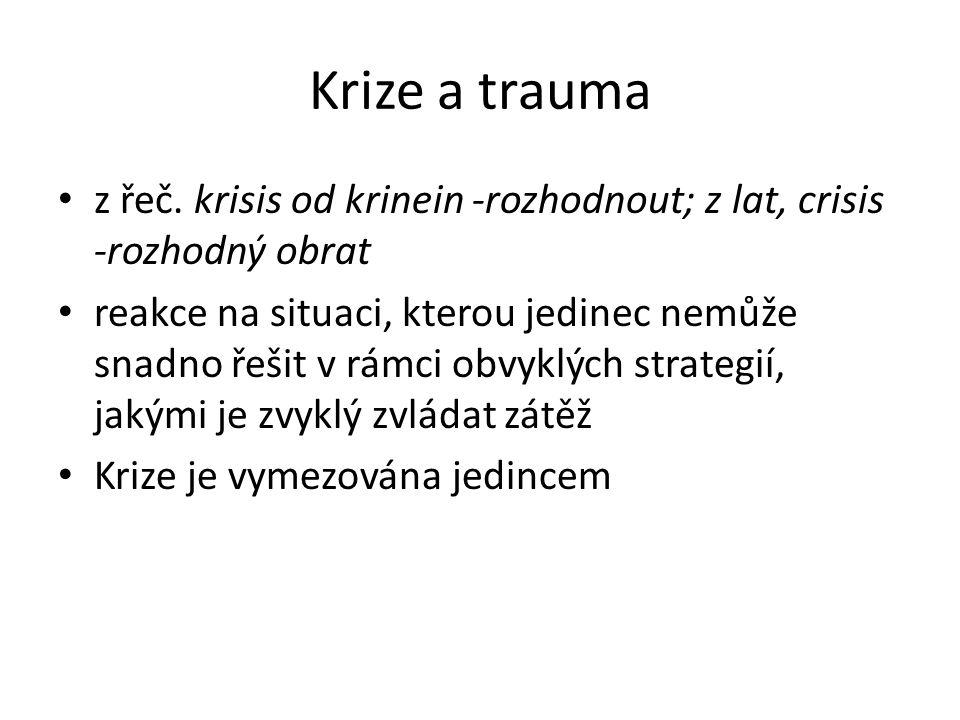 Krize a trauma z řeč. krisis od krinein -rozhodnout; z lat, crisis -rozhodný obrat.