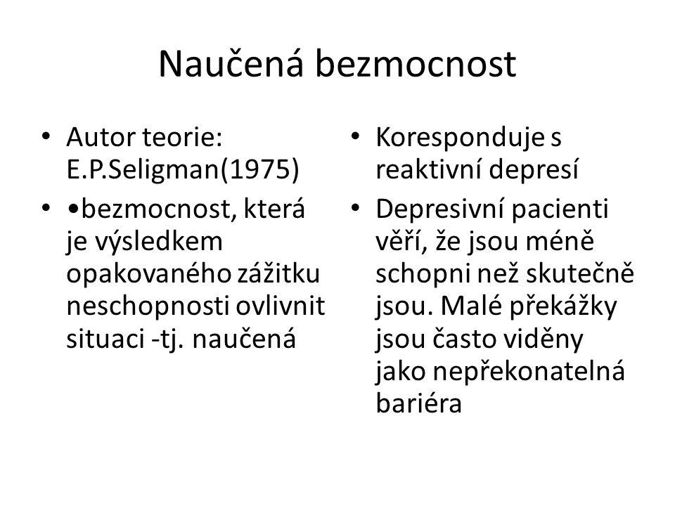 Naučená bezmocnost Autor teorie: E.P.Seligman(1975)
