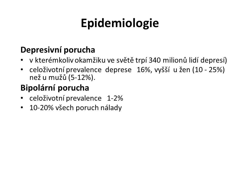 Epidemiologie Depresivní porucha Bipolární porucha