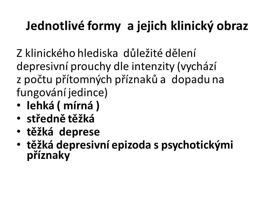 Jednotlivé formy a jejich klinický obraz