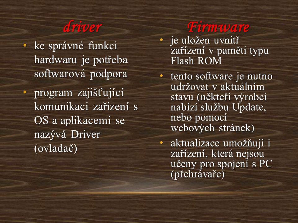 driver Firmware. je uložen uvnitř zařízení v paměti typu Flash ROM.