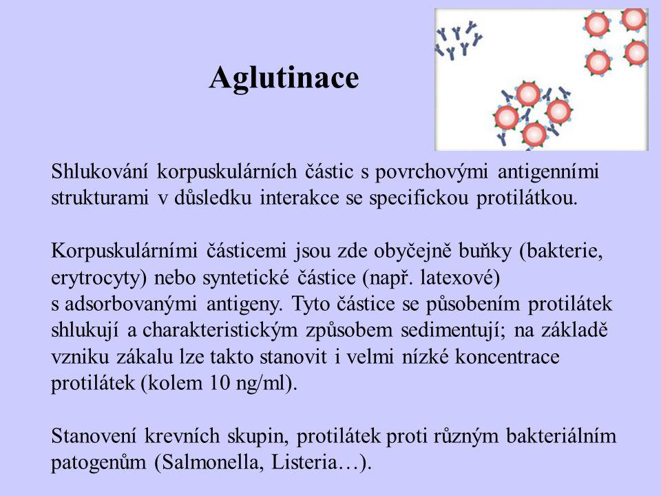 Aglutinace Shlukování korpuskulárních částic s povrchovými antigenními strukturami v důsledku interakce se specifickou protilátkou.
