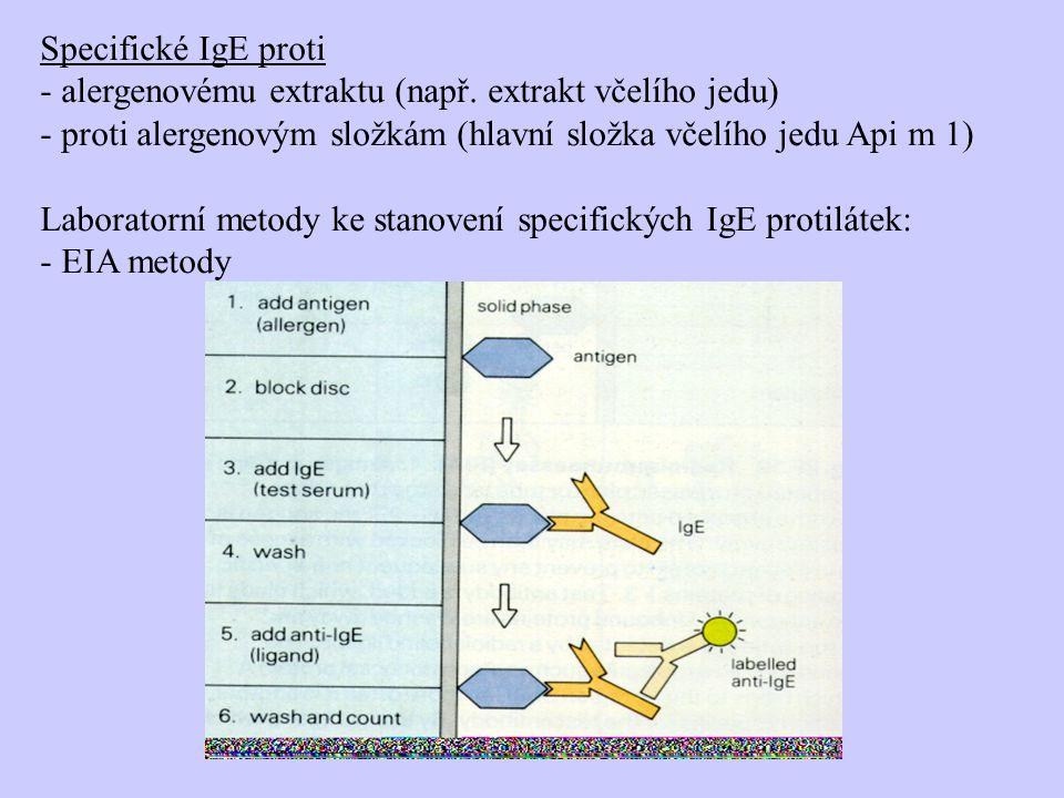 Specifické IgE proti alergenovému extraktu (např. extrakt včelího jedu) proti alergenovým složkám (hlavní složka včelího jedu Api m 1)