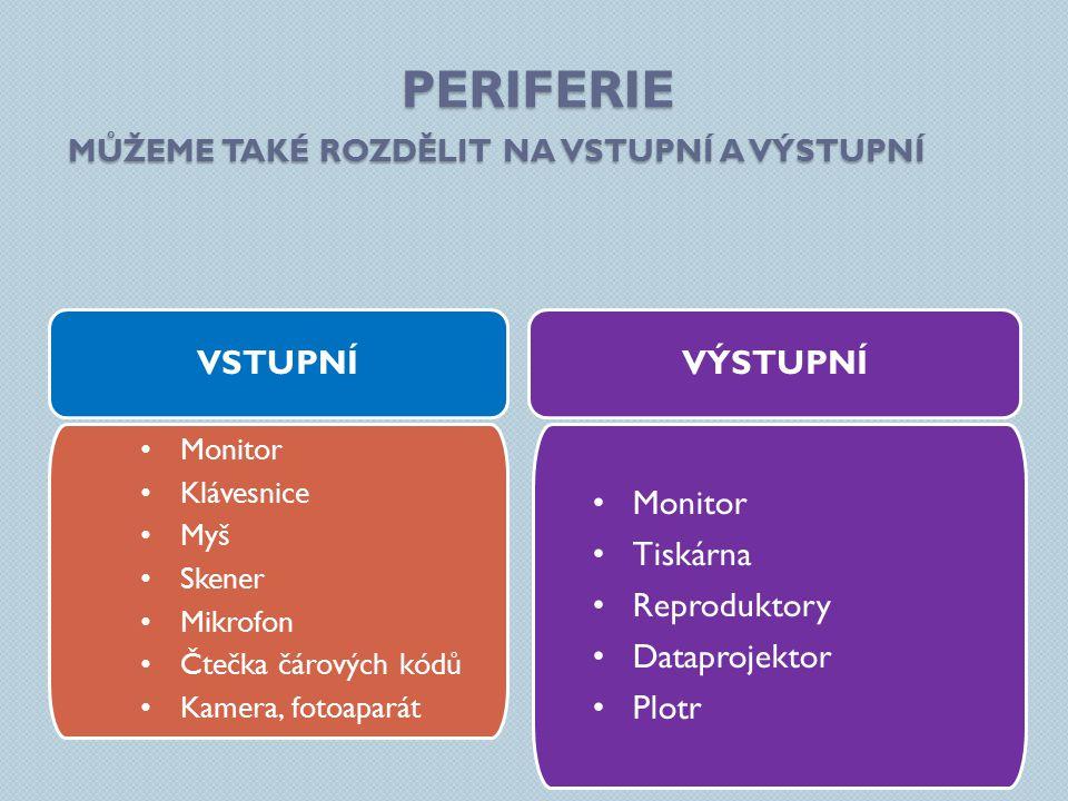 Periferie Vstupní Výstupní Monitor Tiskárna Reproduktory Dataprojektor