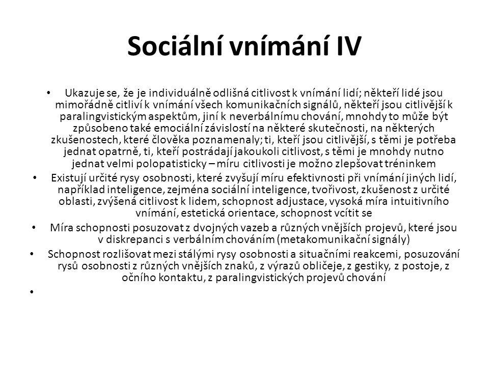 Sociální vnímání IV