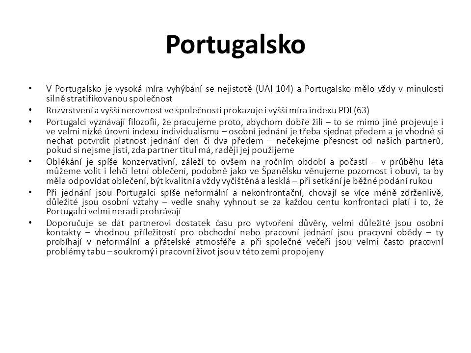 Portugalsko V Portugalsko je vysoká míra vyhýbání se nejistotě (UAI 104) a Portugalsko mělo vždy v minulosti silně stratifikovanou společnost.