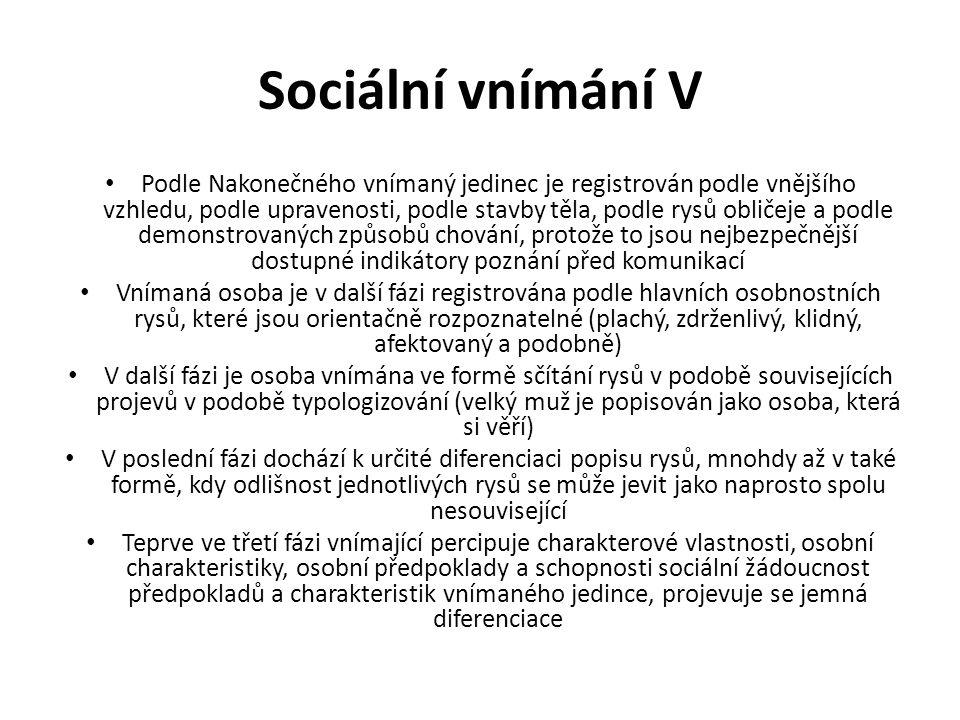Sociální vnímání V