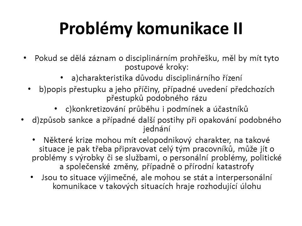 Problémy komunikace II