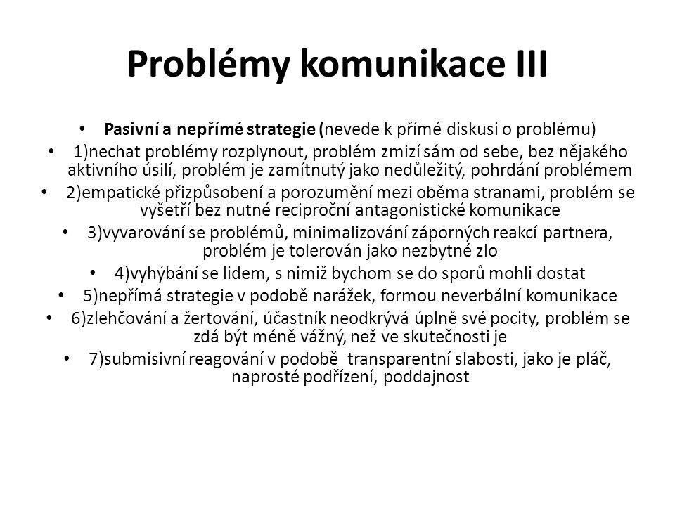 Problémy komunikace III
