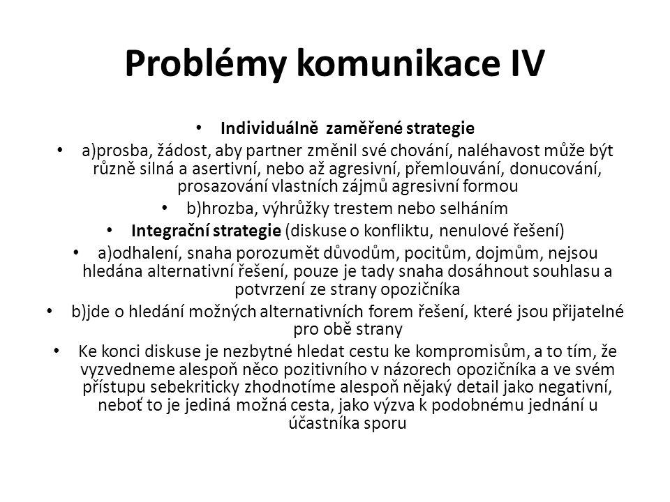 Problémy komunikace IV