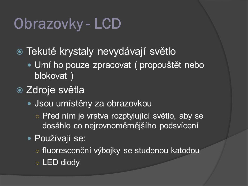 Obrazovky - LCD Tekuté krystaly nevydávají světlo Zdroje světla