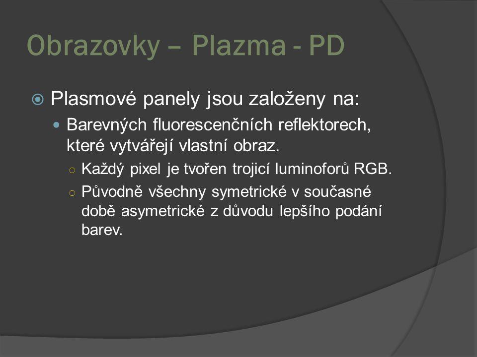 Obrazovky – Plazma - PD Plasmové panely jsou založeny na: