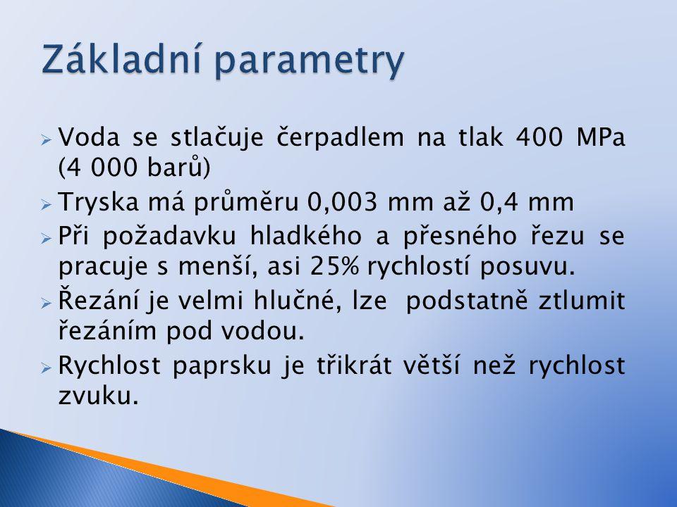 Základní parametry Voda se stlačuje čerpadlem na tlak 400 MPa (4 000 barů) Tryska má průměru 0,003 mm až 0,4 mm.