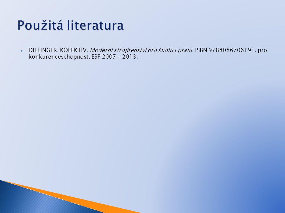 Použitá literatura DILLINGER. KOLEKTIV. Moderní strojírenství pro školu i praxi.