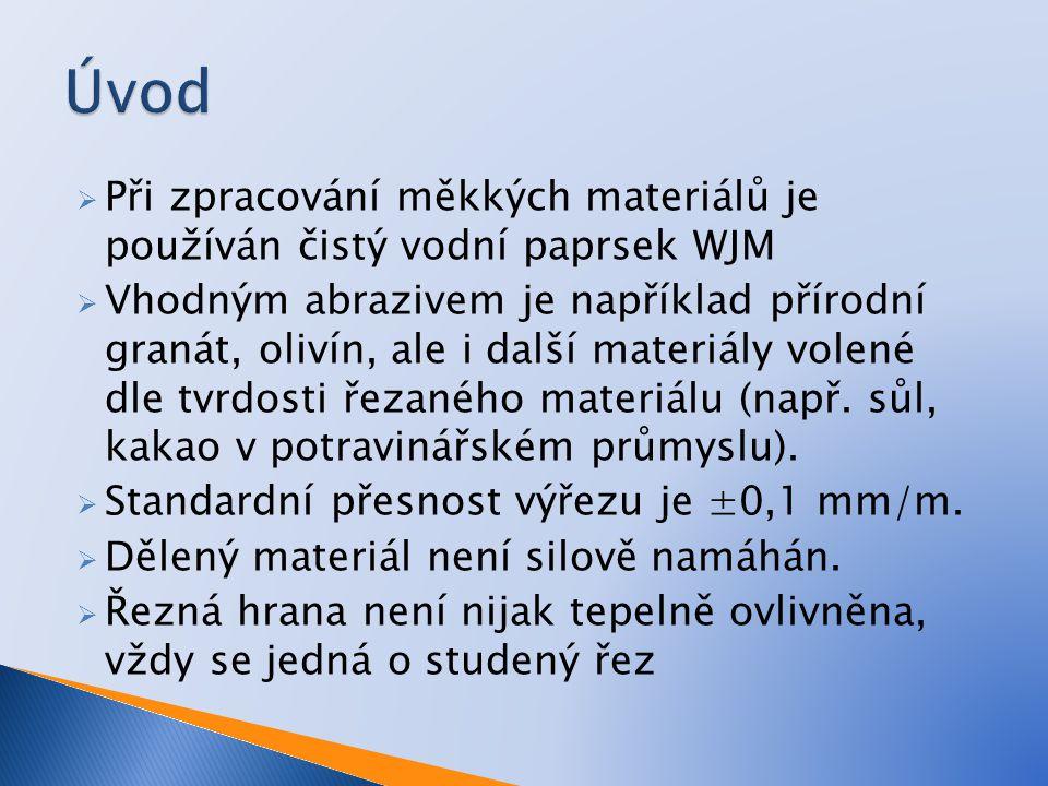 Úvod Při zpracování měkkých materiálů je používán čistý vodní paprsek WJM.