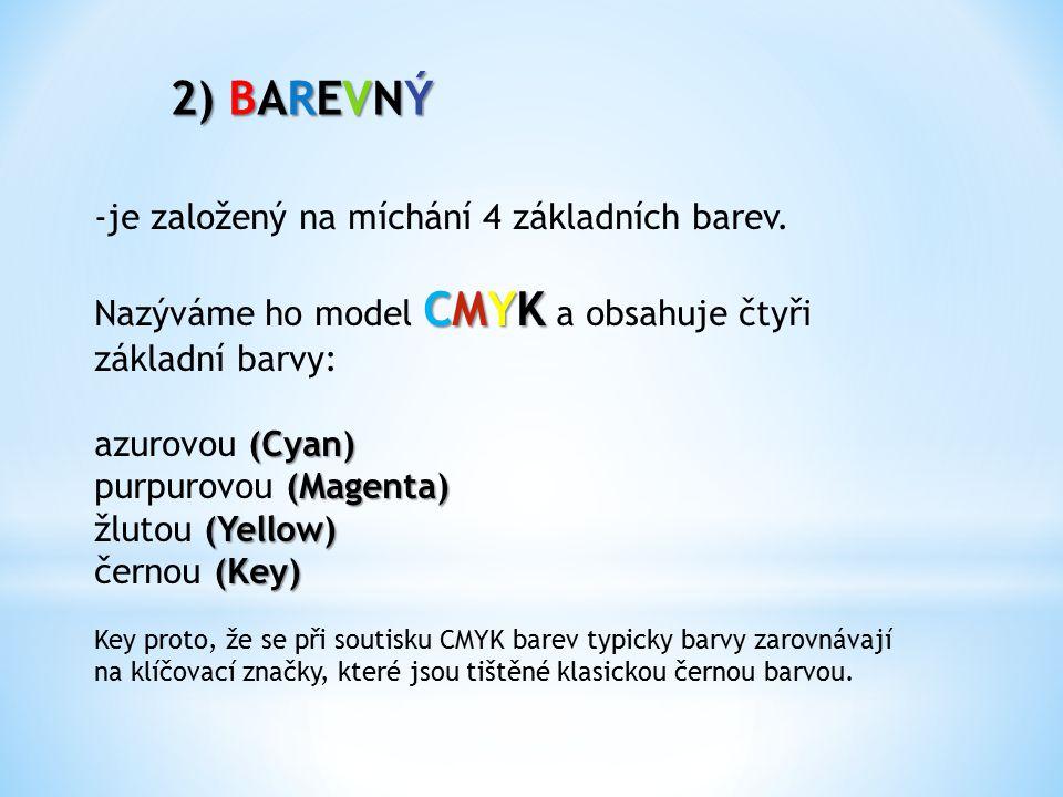 2) BAREVNÝ -je založený na míchání 4 základních barev.