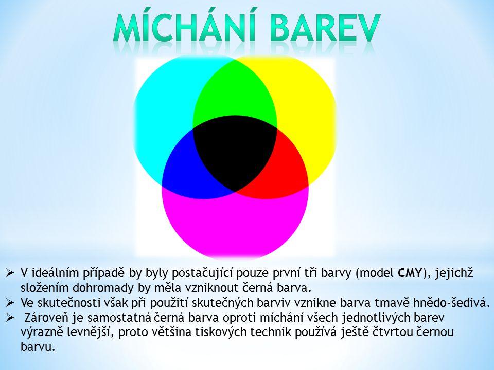Míchání barev V ideálním případě by byly postačující pouze první tři barvy (model CMY), jejichž složením dohromady by měla vzniknout černá barva.