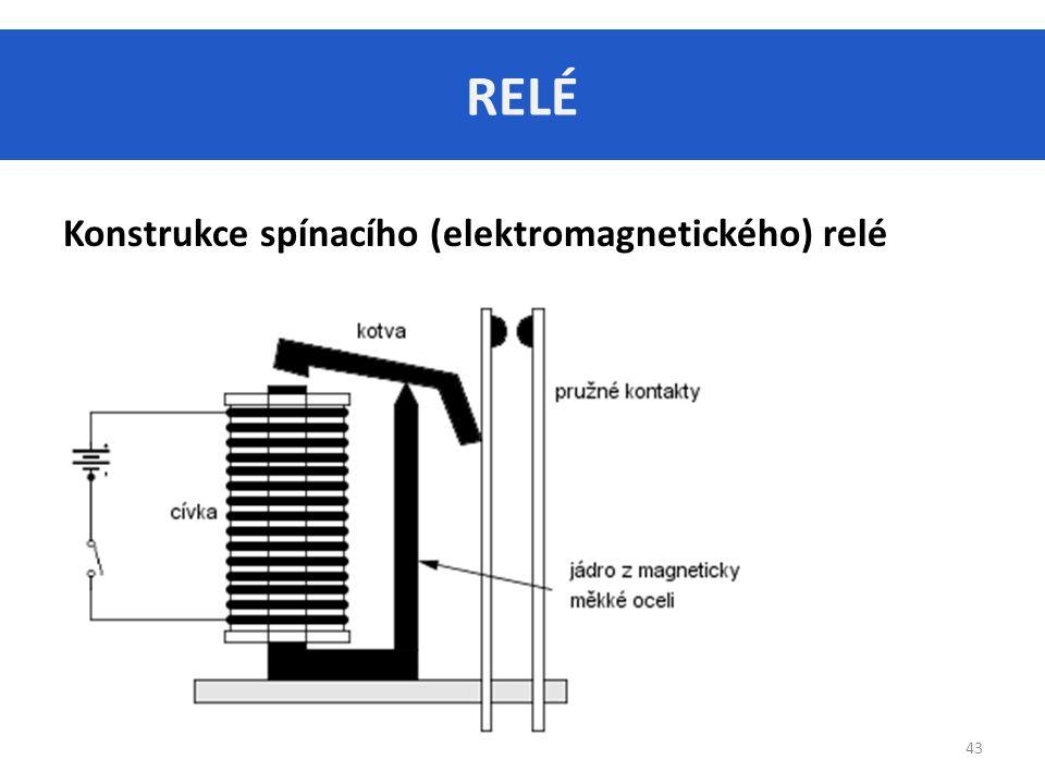 RELÉ Konstrukce spínacího (elektromagnetického) relé