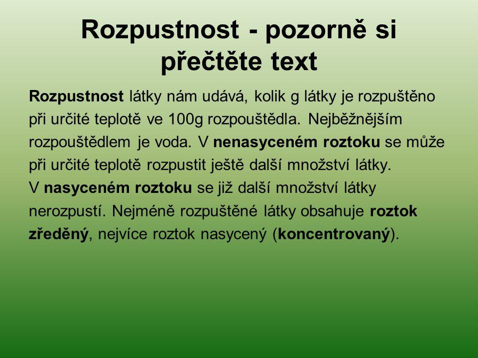 Rozpustnost - pozorně si přečtěte text