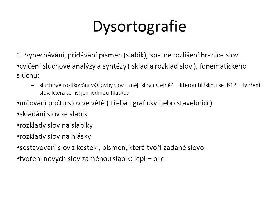 Dysortografie 1. Vynechávání, přidávání písmen (slabik), špatné rozlišení hranice slov.
