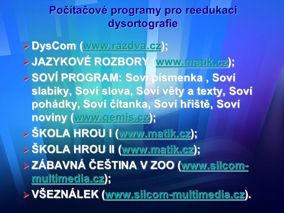 Počítačové programy pro reedukaci dysortografie