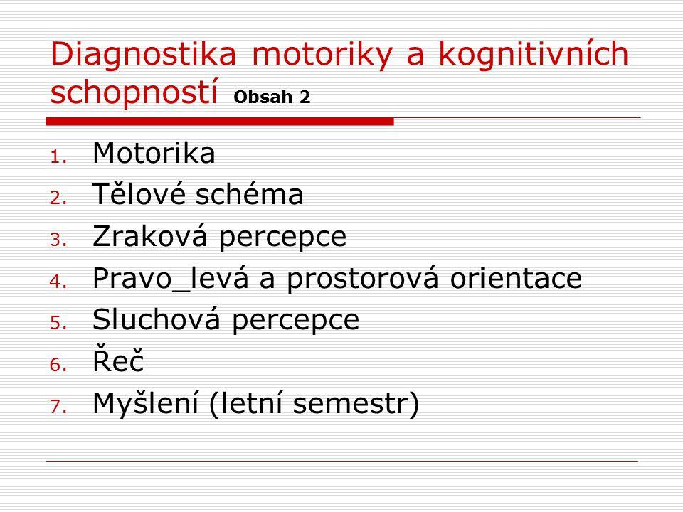 Diagnostika motoriky a kognitivních schopností Obsah 2