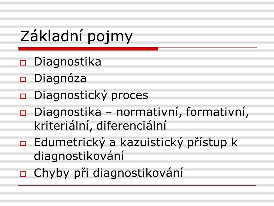 Základní pojmy Diagnostika Diagnóza Diagnostický proces