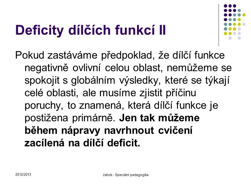 Deficity dílčích funkcí II