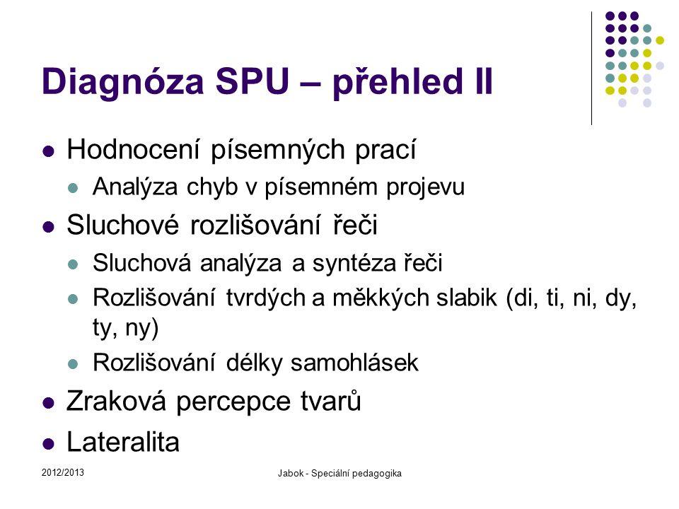 Diagnóza SPU – přehled II