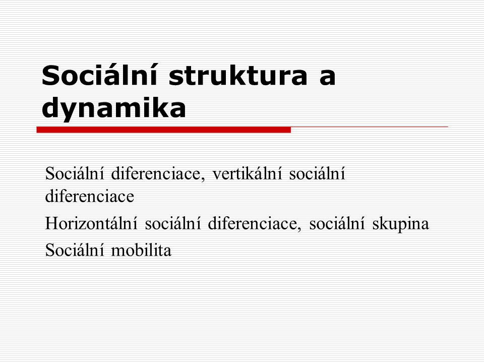 Sociální struktura a dynamika