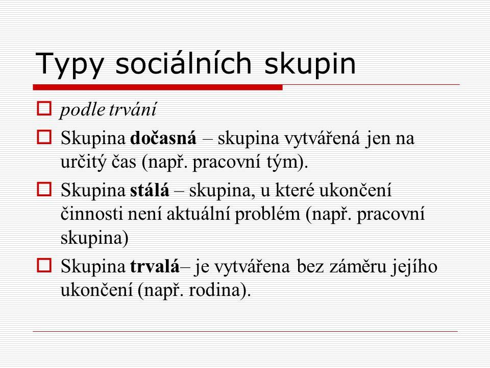 Typy sociálních skupin