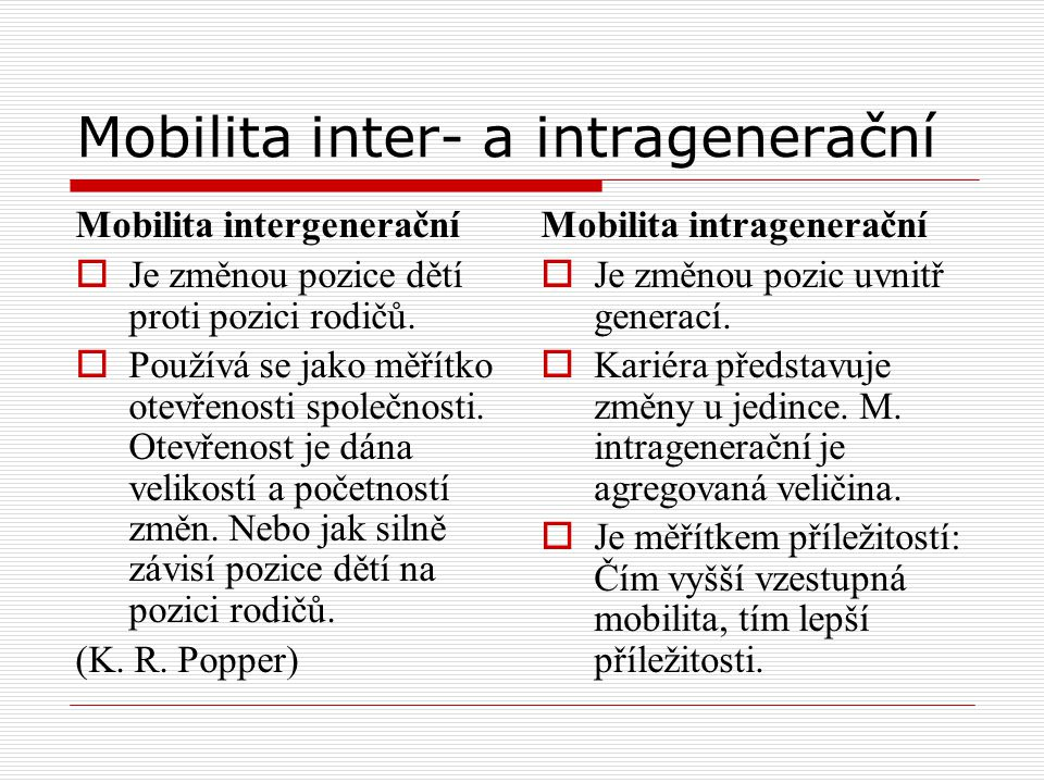 Mobilita inter- a intragenerační