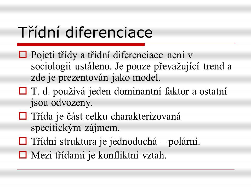 Třídní diferenciace Pojetí třídy a třídní diferenciace není v sociologii ustáleno. Je pouze převažující trend a zde je prezentován jako model.