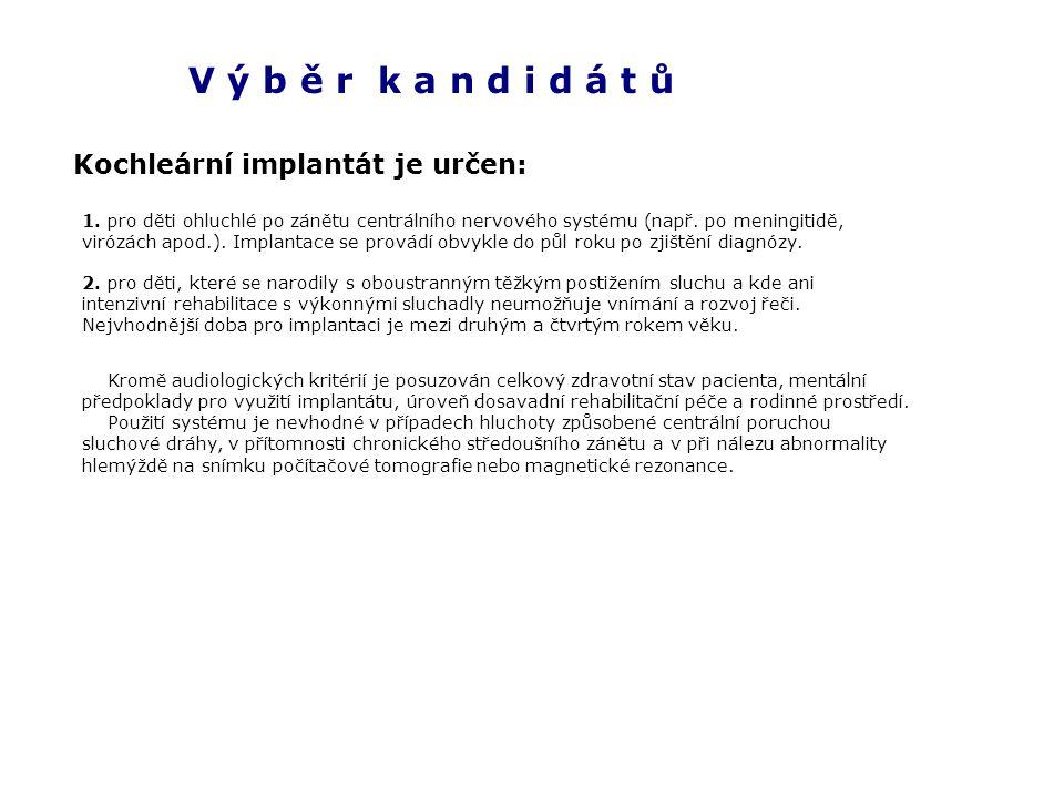 V ý b ě r k a n d i d á t ů Kochleární implantát je určen: