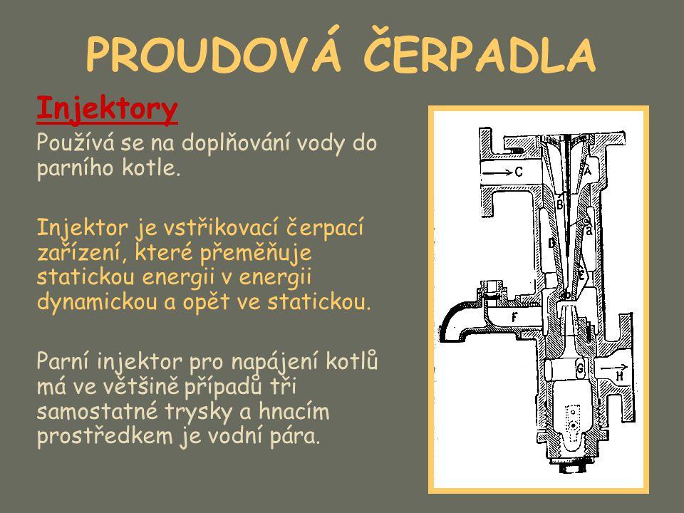 PROUDOVÁ ČERPADLA Injektory