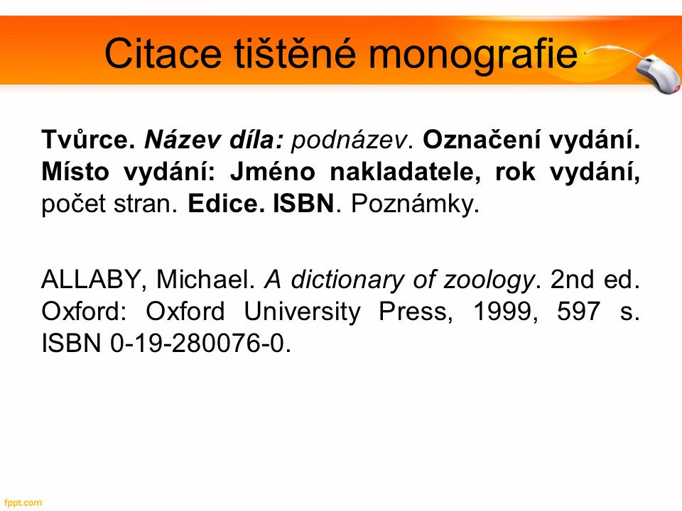 Citace tištěné monografie