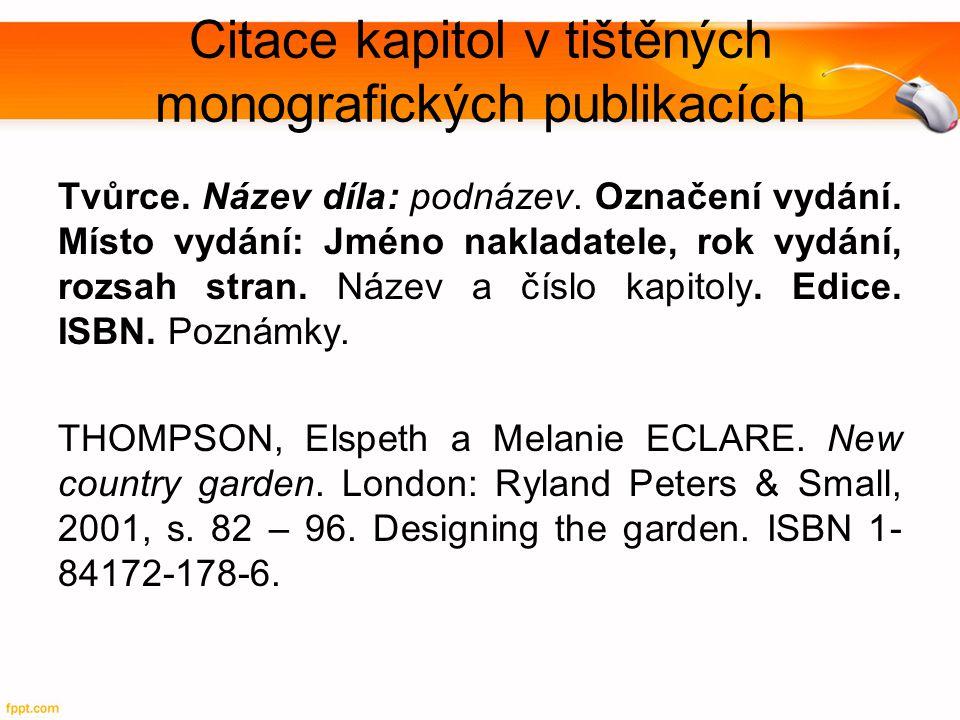 Citace kapitol v tištěných monografických publikacích