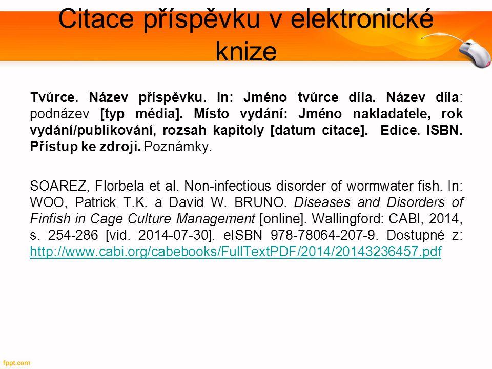 Citace příspěvku v elektronické knize