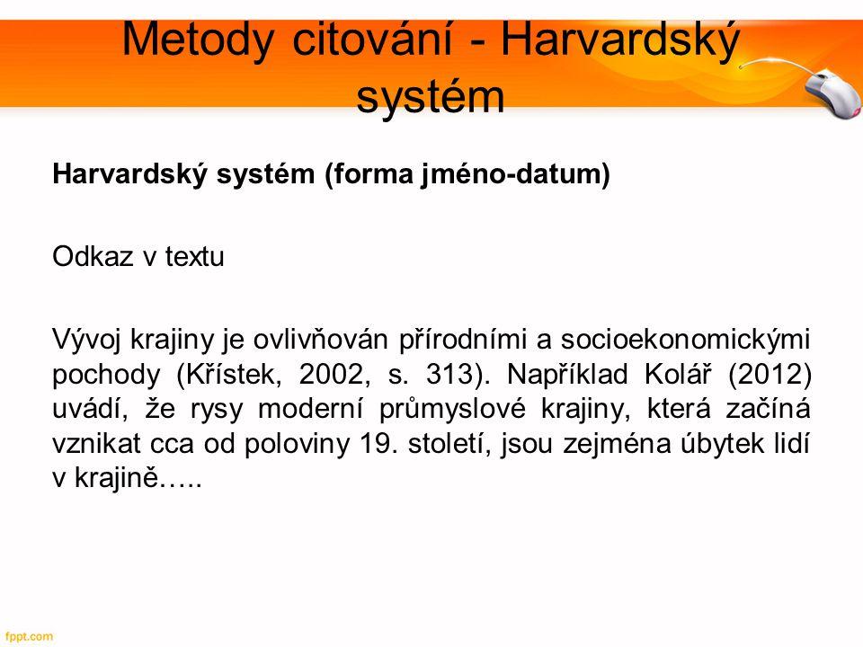 Metody citování - Harvardský systém
