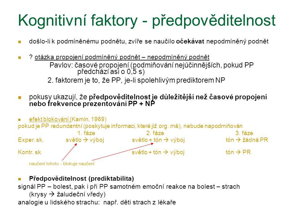 Kognitivní faktory - předpověditelnost