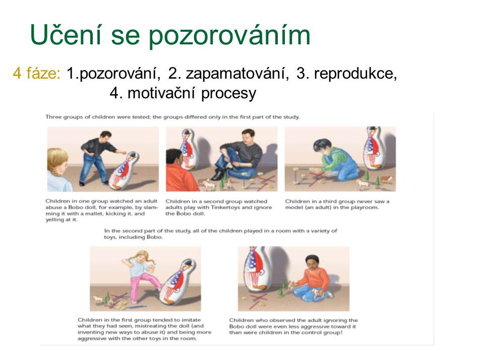 Učení se pozorováním 4 fáze: 1.pozorování, 2. zapamatování, 3. reprodukce, 4. motivační procesy